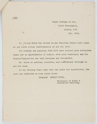 Gerald Moira; [Reference, Vivian Smith]; Oct 1911; A2015/4/92