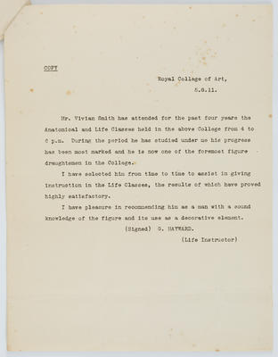 G Hayward; [Reference, Vivian Smith]; 05 Aug 1911; A2015/4/93