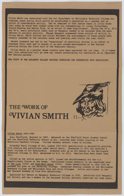 Sarjeant Gallery Te Whare o Rehua Whanganui; [Catalogue, The Work of Vivian Smith]; Post 1977?; A2015/4/122