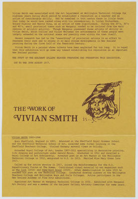 Sarjeant Gallery Te Whare o Rehua Whanganui; [Catalogue, The Work of Vivian Smith]; Post 1977?; A2015/4/123