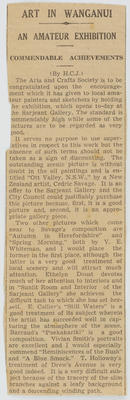 Unknown; [Newspaper cutting, Art in Wanganui]; Unknown; A2015/4/138