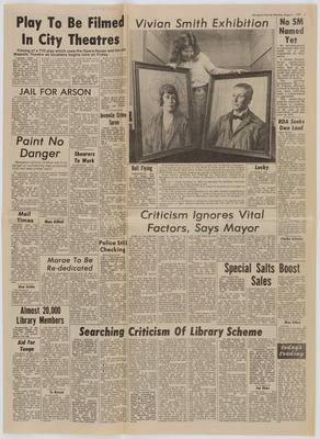Wanganui Herald; [Newspaper cutting, Vivian Smith Exhibition]; 01 Aug 1977; A2015/4/140