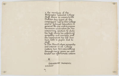 Untitled (We the members of the Wellington Technical College Staff...)