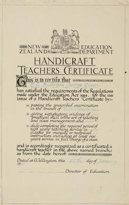 Untitled (Handicraft Teachers Certificate)