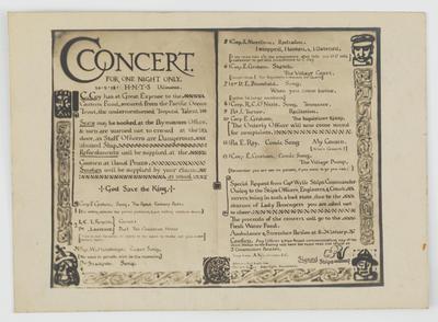 [Postcard, Concert aboard the HMTS Ulimaroa]