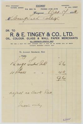 R & E Tingey & Co Ltd; [Receipt, R & E Tingey & Company Limited]; 17 Mar 1932; A2015/4/152