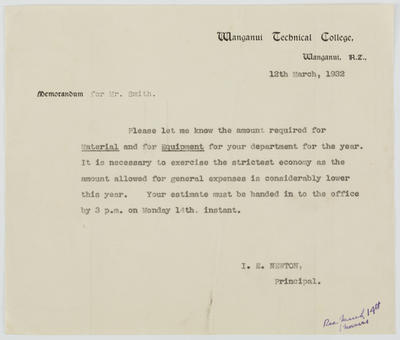 J E Newton; [Memorandum, J E Newton to Vivian Smith]; 12 Mar 1932; A2015/4/153