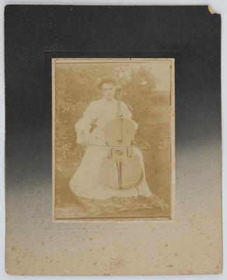 Portrait of Edith Collier playing a cello; Unknown; A2015/1/8