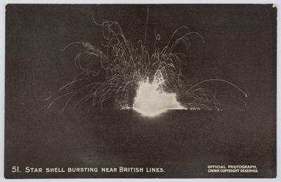 "Postcard 51. Titled ""Star shell bursting near British lines"" addressed to Dolly from Edith Collier."
