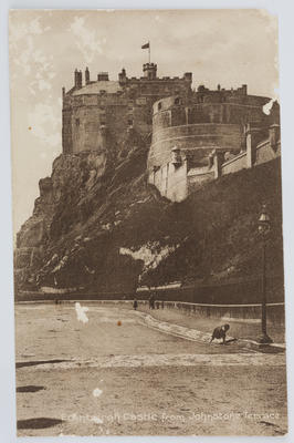 "Postcard titled ""Edinburgh Castle from Johnstone Terrace"" addressed to Grandman from Edith Collier."