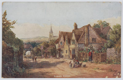 "Colour postcard titled ""Riverhead, Sevenoaks"" from Edith Collier to her father."