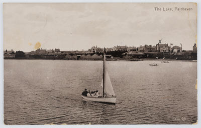 """Valentine's Series; Unknown; Black and white postcard titled """"The Lake, Fairhaven"""" from unknown author to Edith Collier.; Jan 1914; A2015/1/130"""