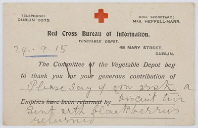 Déanca Inérinn; Vegetable Depot; Colour postcard of Red Cross Bureau of Information from the Committee of the Vegetable Depot to Edith Collier.; 24 Sep 1915; A2015/1/135