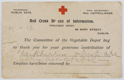 Déanca Inérinn; Vegetable Depot; Colour postcard from the Red Cross Bureau of Information Vegetable Depot to Edith Collier.; 14 Sep 1915; A2015/1/136