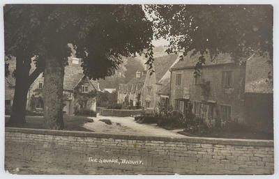 Edith Collier; W. J. Butt, Bridge Studio, Bourton-on-the-Water; Black and white postcard titled The Square, Bilbury from Edith Collier to Bill.; A2015/1/138