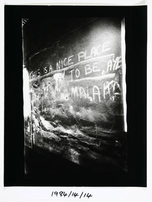 Anne Noble; Graffitti - The Char End. Chelsea Sugar Refinery Auckland 84; 1984; 1984/14/9.6