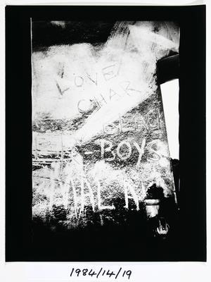 Anne Noble; Graffiti - 'Love Char' - The Char End. Chelsea Sugar Refinery, Auckland '84; 1984; 1984/14/9.11