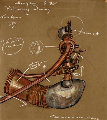 "Bing Dawe; Working drawings for ""Tone Arm""; 1978; 1980/2/2"