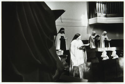 The singing of the Divine Office, (let nothing come before the Work of God - Rule of St Benedict), is the primary work of the Tyburn community. Seven times a day the community processes into the sanctuary for the hours of Nocturnes, Lauds, Terce, Sext, None, Verspers and Compline. The entire Psalter is chanted each week in English, to music composed by the sisters. The purpose of this liturgy, to sanctify time and all human activity will be achieved in our community...(M foundress 1901)