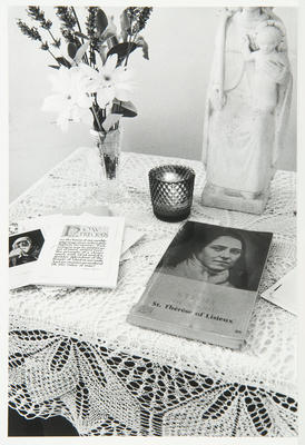 An alter in the room of Sister Therese, which was made for the week of private retreat leading up to the ceremony of her first profession.