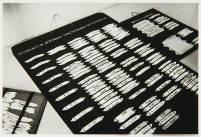 Anne Noble; Adoration board with each Sister's times for adoration in front of the Blessed Sacrament.; 1988; L1991/23/54