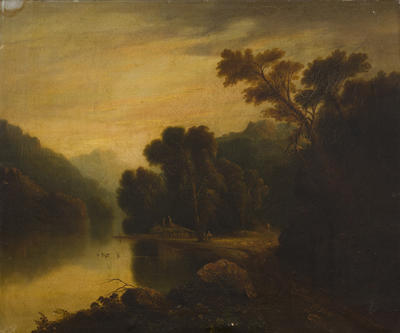 Untitled (landscape with houses)