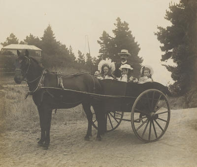 In the horse and cart with Father