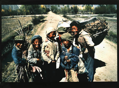 Children collecting firewood, Central Tibet, 1990
