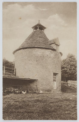 """Edith Collier; W. Dennis Moss, Cirencester; Black and white postcard titled """"The Dove Cote, Bilbury"""". From Edith Collier to Dolly.; A2015/1/139"""
