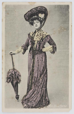 """Hand coloured black and white photograph of """"Miss Billie Burke"""". From E Davis to Edith Collier.; 04 Apr 1908; A2015/1/140"""