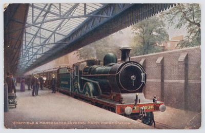 """The Locomotive Publishing Company Ltd; Edith Collier; Coloured postcard depicting the """"Sheffield & Manchester Express: Marylebone Station"""". From Edith Collier to Bill.; A2015/1/141"""
