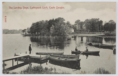 """O. F. (Stengel & Co. Ltd.) Post Card Publ.; Edith Collier; Black and white photographic postcard captioned """"The Landing Stage, Carlingwark Loch, Castle Douglas"""" from Edith Collier to Bill.; A2015/1/143"""