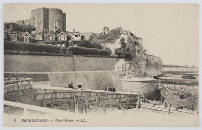 """Unknown; Black and white photographic postcard captioned """"8 BROADSTAIRS. - Bleak House. - LL."""" from unknown author to Edith Collier.; A2015/1/144"""