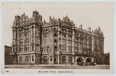 """Kingsway Real Photo Series; Edith Collier; Black and white photographic postcard captioned """"Midland Hotel. Manchester."""" Addressed to Dolly from Edith Collier.; A2015/1/145"""