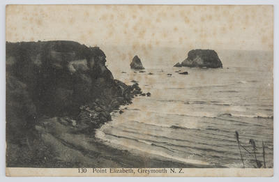 """James Ring; Unknown; Black and white photographic postcard captioned """"130 Point Elizabeth, Greymouth N.Z."""" To Edith Collier from an unknown author, name indecipherable.; A2015/1/147"""