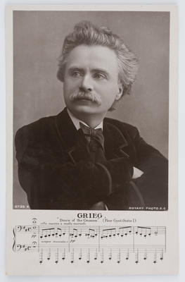 Rotary Photographic Series; Minnie; Black and white photographic postcard of the composer Edvard Grieg. Addressed to Edith Collier from Minnie.; A2015/1/150
