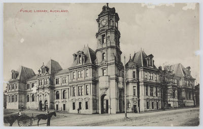 """Stanley Newcombe & Co.; Black and white post card of a building captioned """"PUBLIC LIBRARY, AUCKLAND.""""; 07 May 1913; A2015/1/158"""