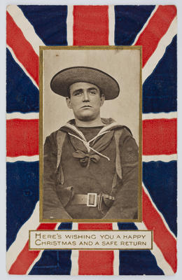 B. B.; Edith Collier; Black and white photographic postcard of a soldier surrounded by a colour Union Jack border.; A2015/1/159