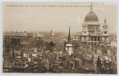 Edith Collier; Black and white photographic postcard of St Paul's Cathedral, London.; A2015/1/160