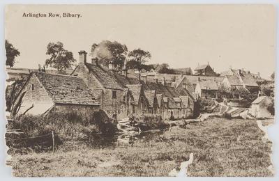 Edith Collier; W. Dennis Moss, Cirencester; Black and white photographic postcard of Arlington Row. Bilbury.; A2015/1/161
