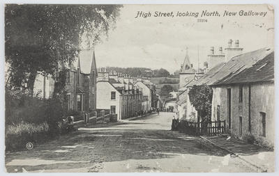 Valentine's Series; Black and white photographic postcard of High Street, New Galloway.; A2015/1/163