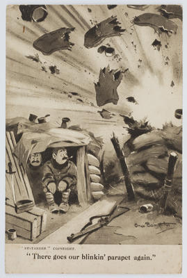 """""""Bystander"""" A black and white cartoon postcard of two men in a bunker.; A2015/1/164"""