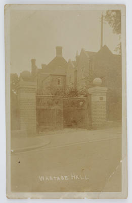Sepia photographic postcard of Wantage Hall.; A2015/1/168