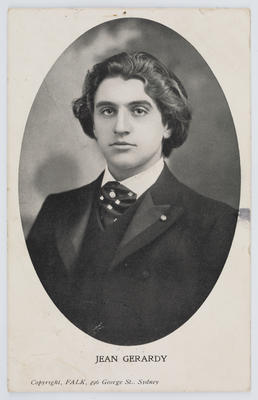 Falk; Black and white photographic postcard of Jean Gerardy.; 05 May 1905; A2015/1/175