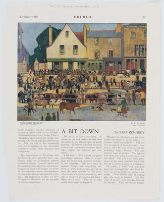 """E. M. Garner; A page ripped from 'Colour' magazine November 1918. Shows a reproduction of """"Romford Market"""" by E. M Garner - A colour oil painting of a cattle market.; Nov 1918; A2015/1/179"""