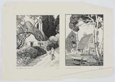 Four black and white prints of houses in village or rural settings. Page iv and iii ripped from a bound object.; A2015/1/182