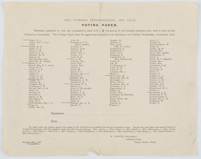 Voting paper for the Women's International Art Club. October 26th, 1921.; 26 Oct 1921; A2015/1/183