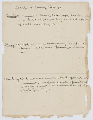 A piece of paper with brief descriptions of Scripts, Fancy Scripts and Old English. It is written in black ink.; A2015/1/184