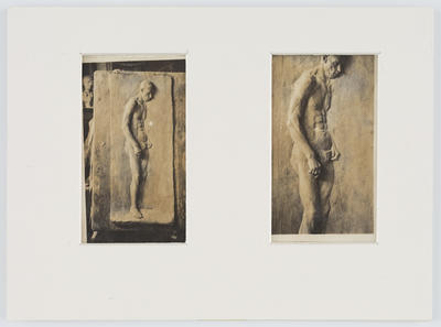 Unknown; Two sepia photographs of a sculpture of a nude man in one mat.; A2015/1/187