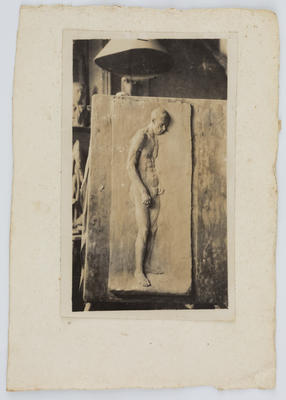 Unknown; Sepia photograph if a sculpture of a nude man.; A2015/1/188